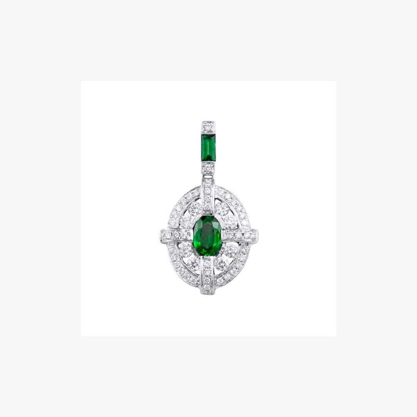 Emerald Center White Diamond White Gold Pendant - Natkina