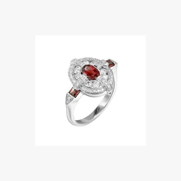 Classical Combination Ruby White Diamond White Gold Ring - Natkina