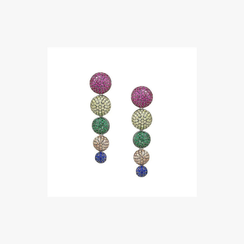 Dangling Multi-Coloured Rounds Zirconia Silver Earrings - Natkina