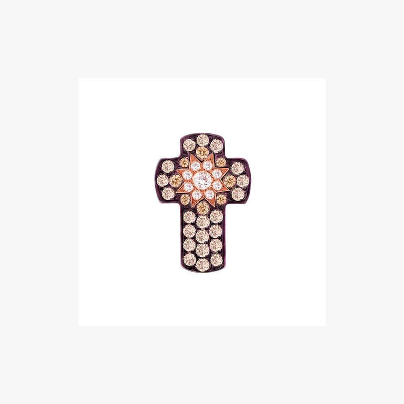 Cross Rose Gold Star Diamond Pendant - Natkina