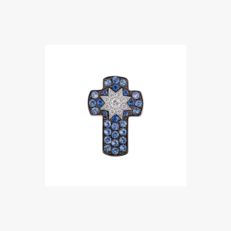 Cross White Gold Star Diamond Sapphire Pendant - Natkina