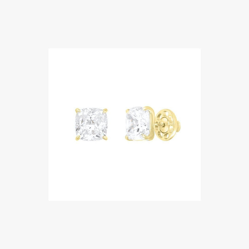 Cushion Cut Classic Diamond Silver Stud Earrings - Natkina