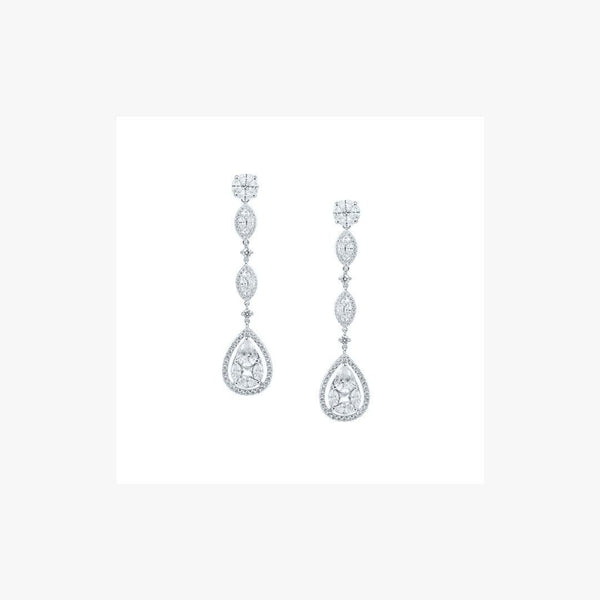 Dangle Diamond Imitation Silver Earrings - Natkina