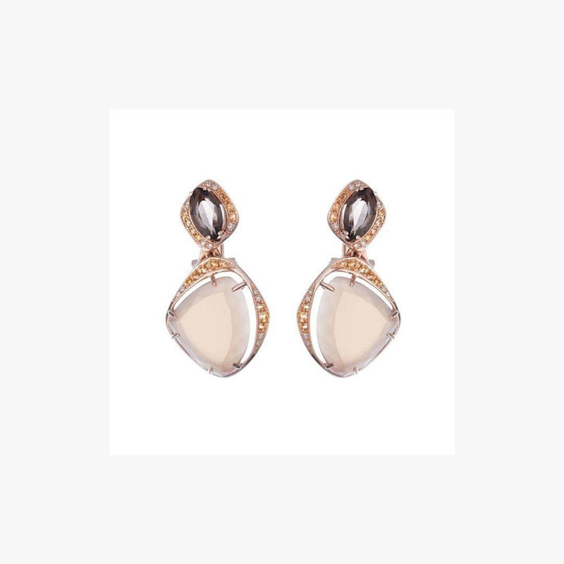 Delicate Quartz Moonstone Yellow Topaz White Diamond Yellow Gold Drop Earrings - Natkina