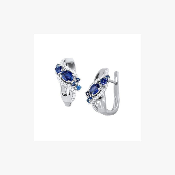 Delicate Sapphire Diamond White Gold Lever- Back Earrings - Natkina