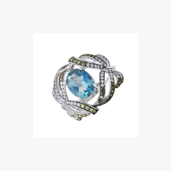Designer Fashion Fine Jewelry Topaz White Diamond Gold Ring - Natkina