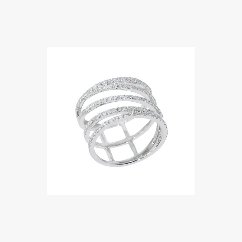 Designer Fashion Fine Jewelry White Diamond Gold Ring - Natkina