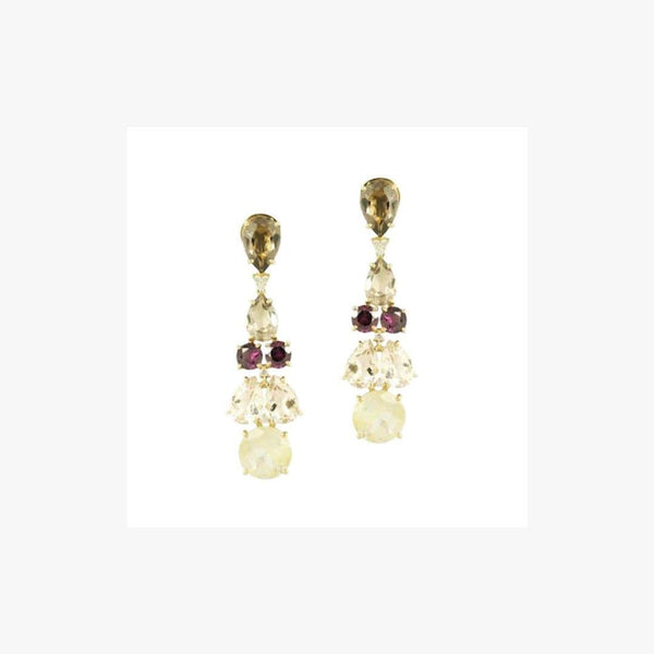 Diamond Garnet Fancy Quartz Yellow Gold 18 Karat Statement Dangle Earrings - Natkina