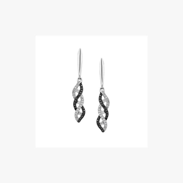 Elegant Black and White Diamond White Gold Drop Earrings - Natkina