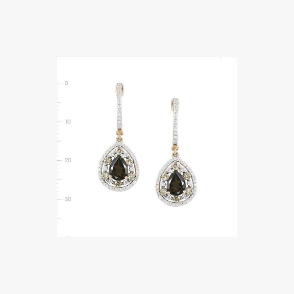 Elegant Pink Gold White Diamond Quartz Drop Earrings - Natkina