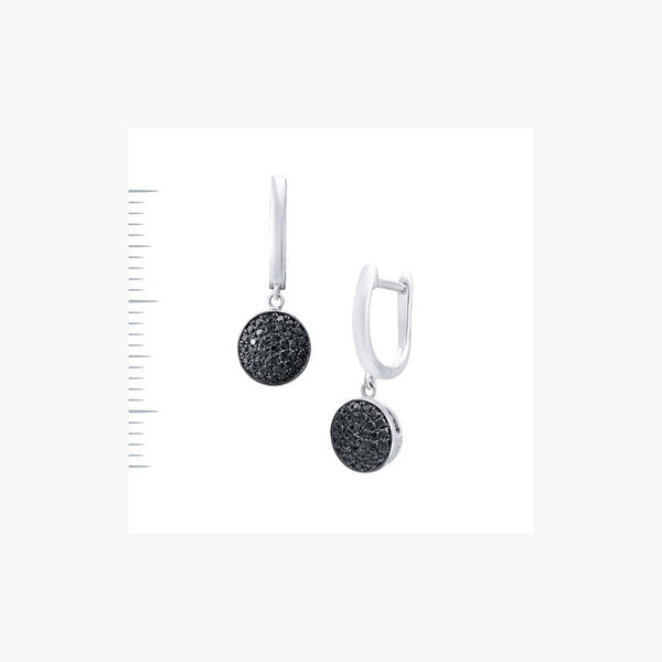 Elegant White Gold Black Diamond Lever-Back Earrings - Natkina