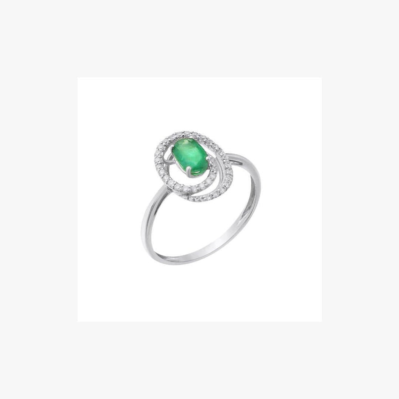 Emerald Ring for Her with White Diamonds - Natkina