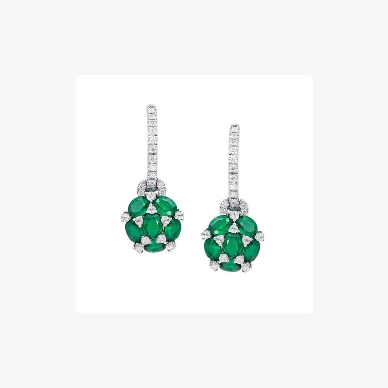Emerald White Diamond White Gold Statement Earrings - Natkina