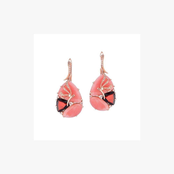 Exclusive Garnet Rhodolite Pink Quartz Diamond Pink Gold Earrings - Natkina