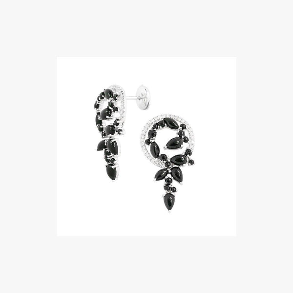 Exclusive Onyx Diamond Pink White Earrings - Natkina