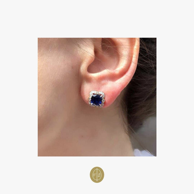 Fabergé Ella 2 Cushion Sapphires 3.49 Carat and Round White Diamonds Earrings - Natkina