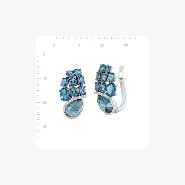 Fabulous Designer Topaz Diamond White Gold Earrings - Natkina
