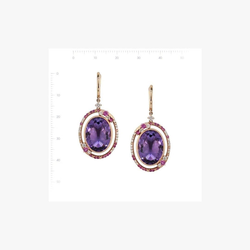 Fancy 20 Carat Purple Amethyst White Diamond Pink Sapphire 18 K Gold Earrings - Natkina