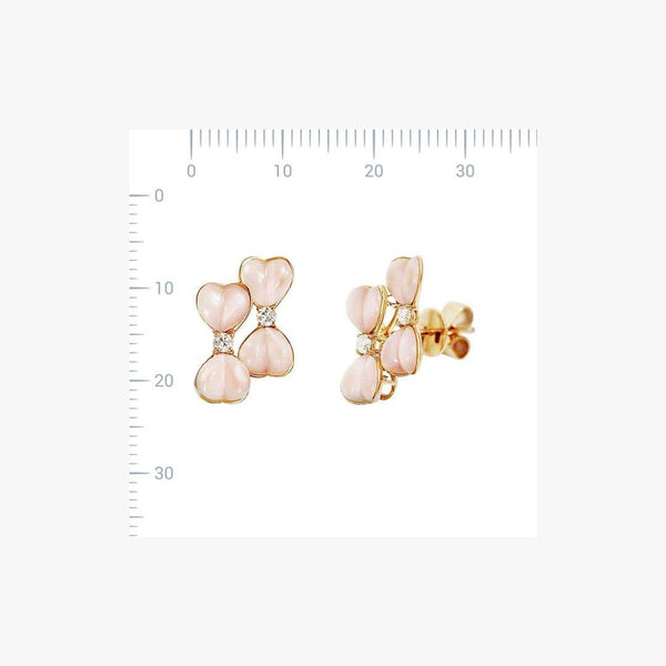 Fancy Nacre White Diamond Yellow 18 Karat Gold Earrings - Natkina