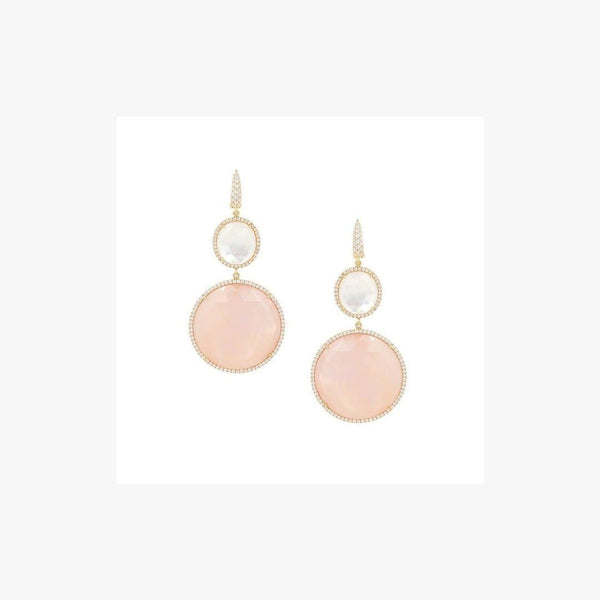 Fantastic Diamond Earrings with Rose Quartz and Mother of Pearl - Natkina