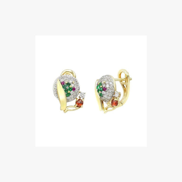 Fashion Garnet Ruby Emerald Diamond Yellow Gold Earrings - Natkina