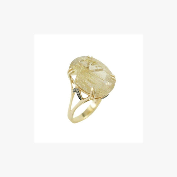Fashion Quartz Diamond Yellow Gold Ring - Natkina