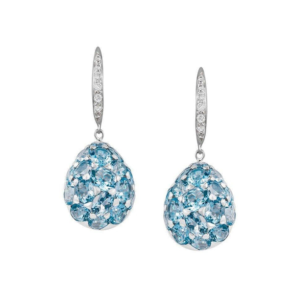 Gloria Oval Blue Topaz Diamond Earrings - Natkina