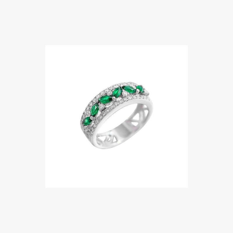 Green Emerald White Diamond White Gold Modern Band Ring - Natkina