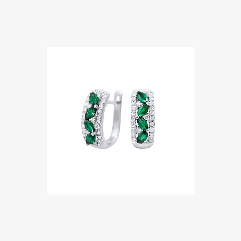 Green Emerald White Diamond White Gold Modern Lever-Back Earrings - Natkina