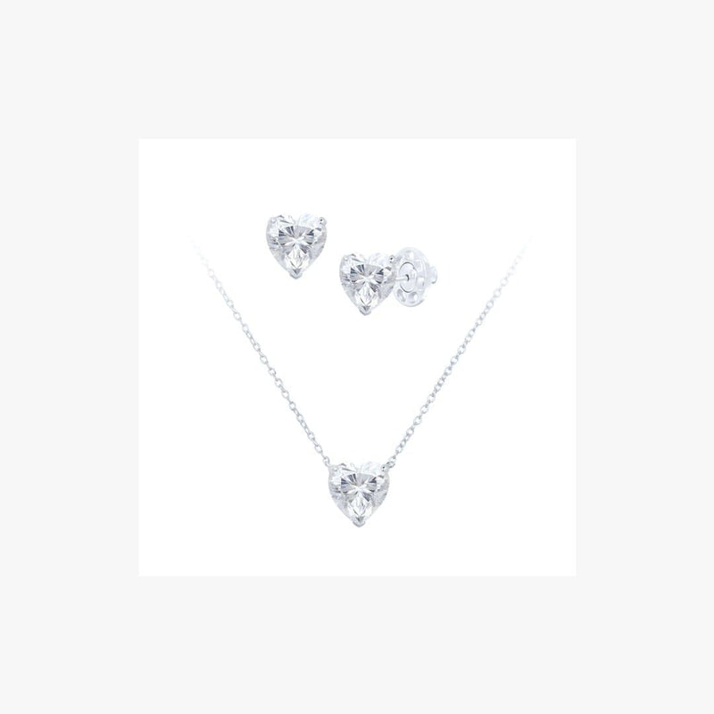 Heart Cut Silver Set