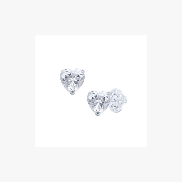 Heart Cut Stud Silver Earrings