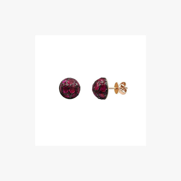 Impressive Blue Ruby Diamond Yellow Gold Earrings - Natkina