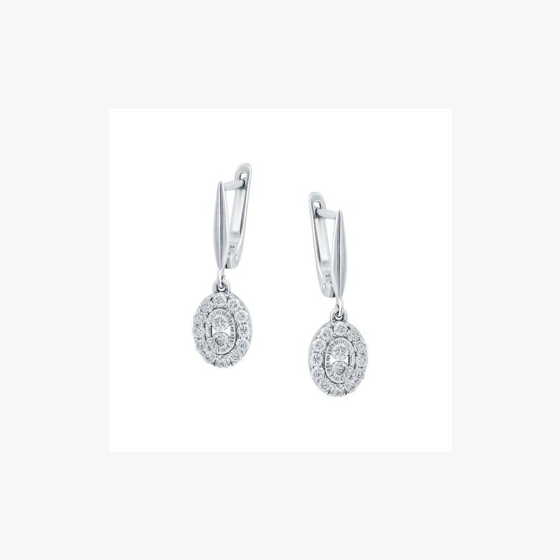 Impressive Classic Diamond White Gold Lever-Back Dangle Earrings - Natkina