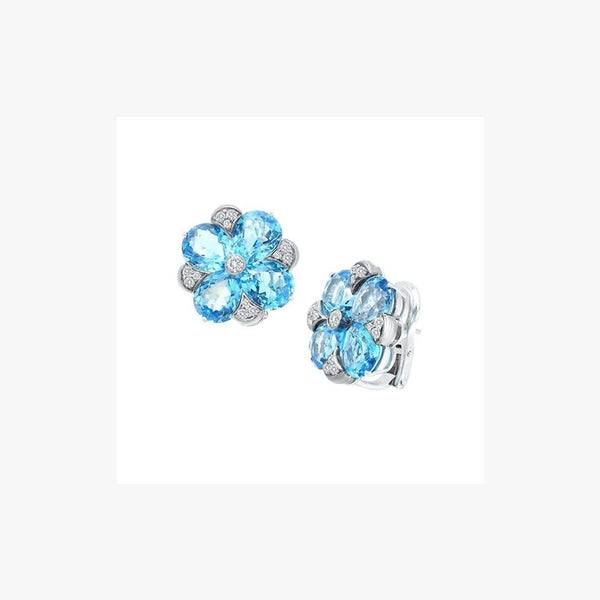 Impressive Clear Blue 21 Carat Topaz 18 Karat Gold Clip-On Earrings - Natkina