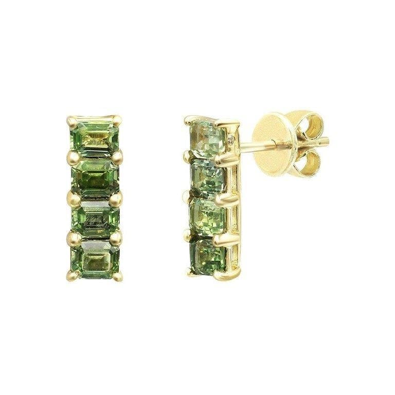 Impressive Green Sapphire Diamond Yellow Gold Earrings - Natkina