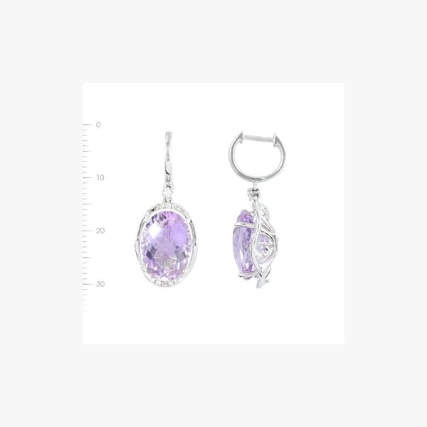 Impressive Light Amethyst Diamond White Gold Drop Earrings - Natkina