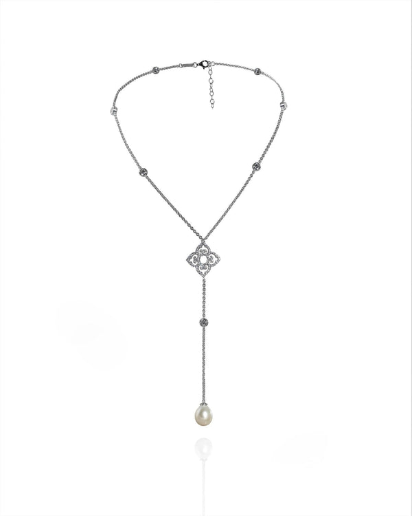 L'AROUSH Long Chain Single Pearl Necklace - Natkina
