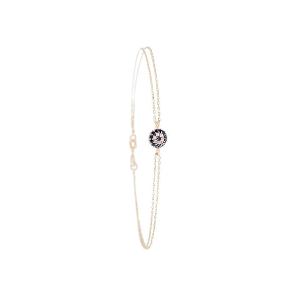 Little Eye Blue Center Gold Bracelet - Natkina