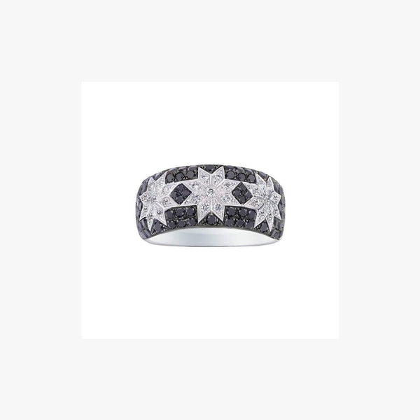 Long 3 Star Ring Black Diamonds - Natkina