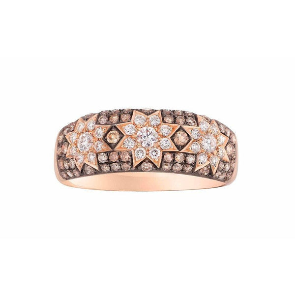 Long 3 Star Ring Champagne Diamonds - Natkina
