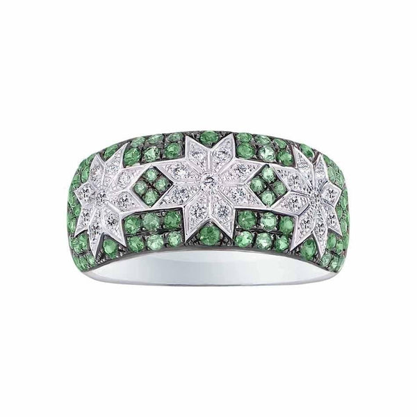 Long 3 Star Ring Tsavorite - Natkina