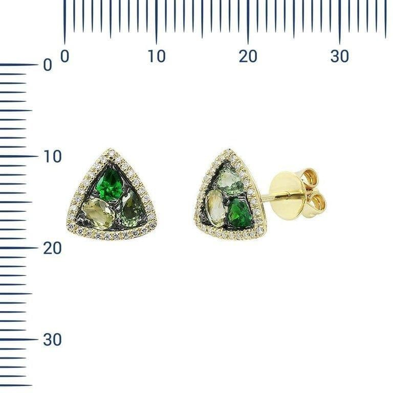 Modern Precious Diamond Green Sapphire Quartz Tsavorite Yellow Gold Earrings - Natkina