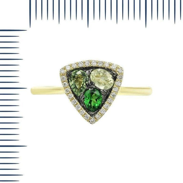 Modern Precious Diamond Green Sapphire Quartz Tsavorite Yellow Gold Ring - Natkina