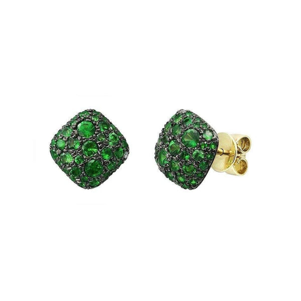 Modern Precious Diamond Tsavorite Yellow Gold Earrings - Natkina
