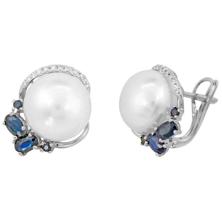 Modern Precious Pearl Diamond Blue Sapphire White Gold Earrings - Natkina