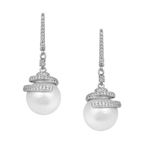Modern Precious Pearl Diamond Fabulous White Gold Drop Earrings - Natkina