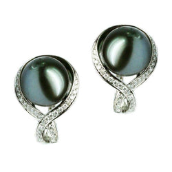Modern Precious Pearl Diamond Fabulous White Gold Earrings - Natkina