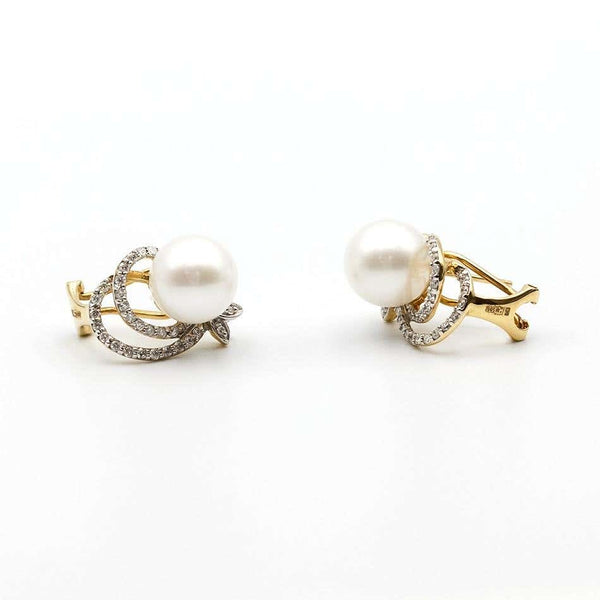 Modern Precious Pearl Diamond Fabulous Yellow Gold Earrings - Natkina