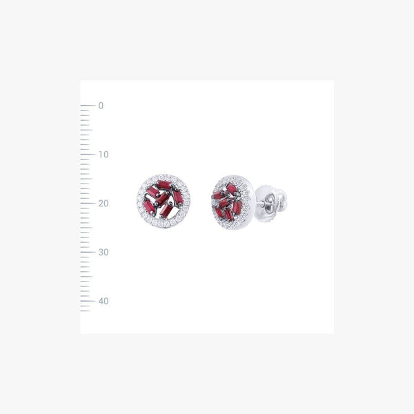 Modern White Gold Ruby Stud Earrings - Natkina