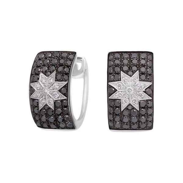 Mono Star earrings wide Black Diamonds - Natkina